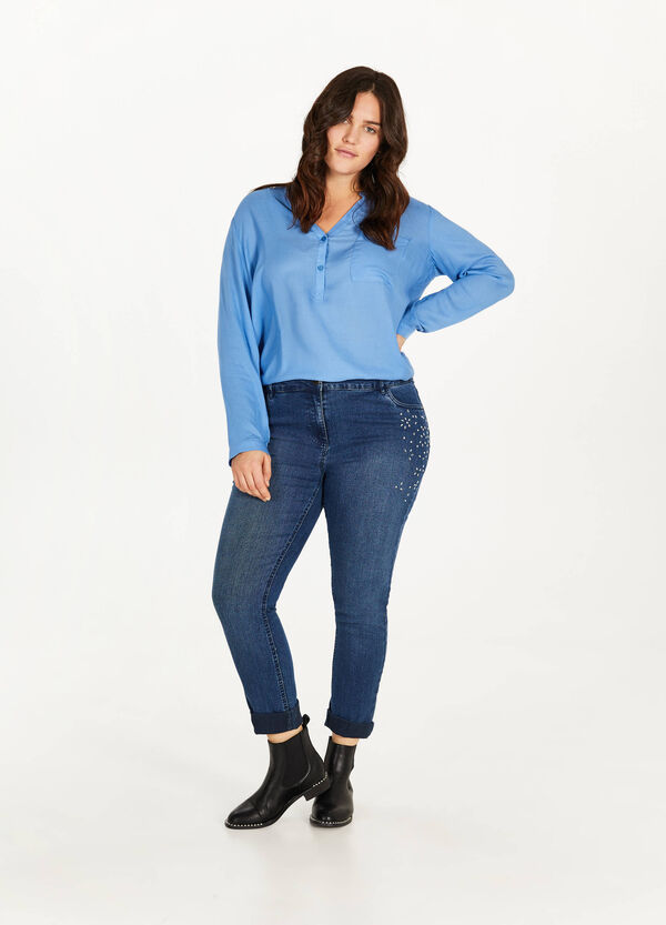 Curvy used-effect jeans with diamantés