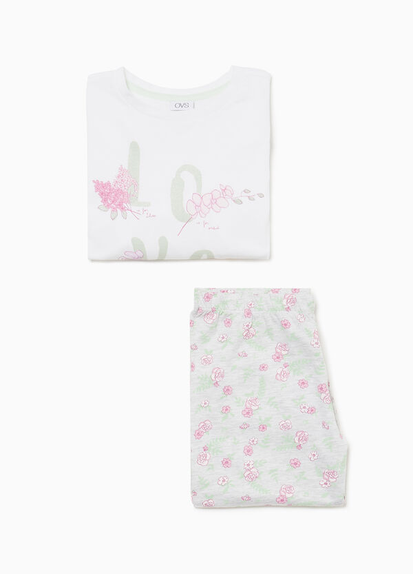 Cotton pyjamas with floral lettering