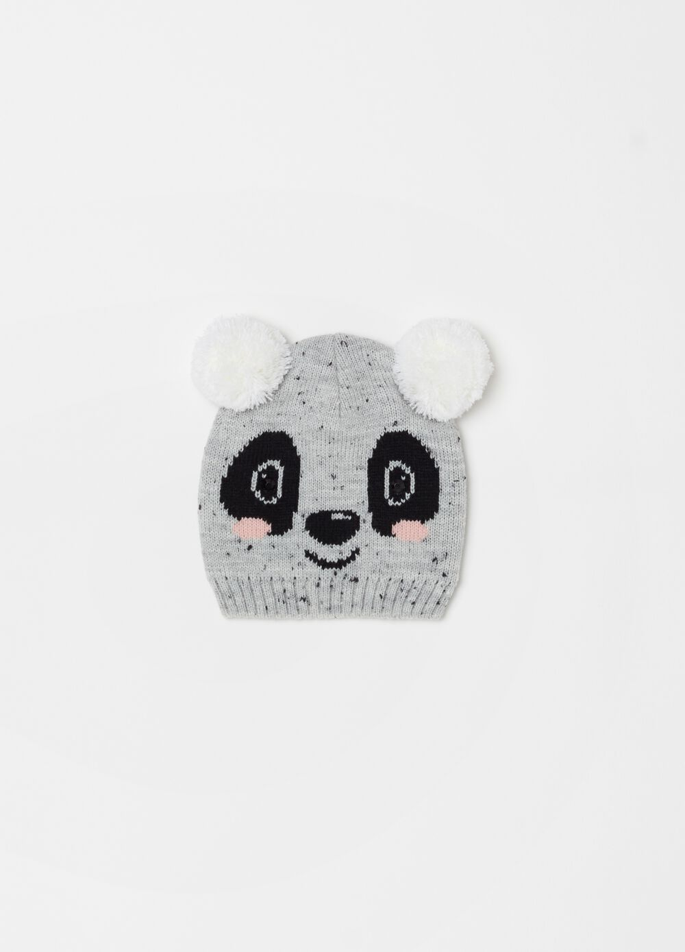 Hat with panda embroidery and ribbing