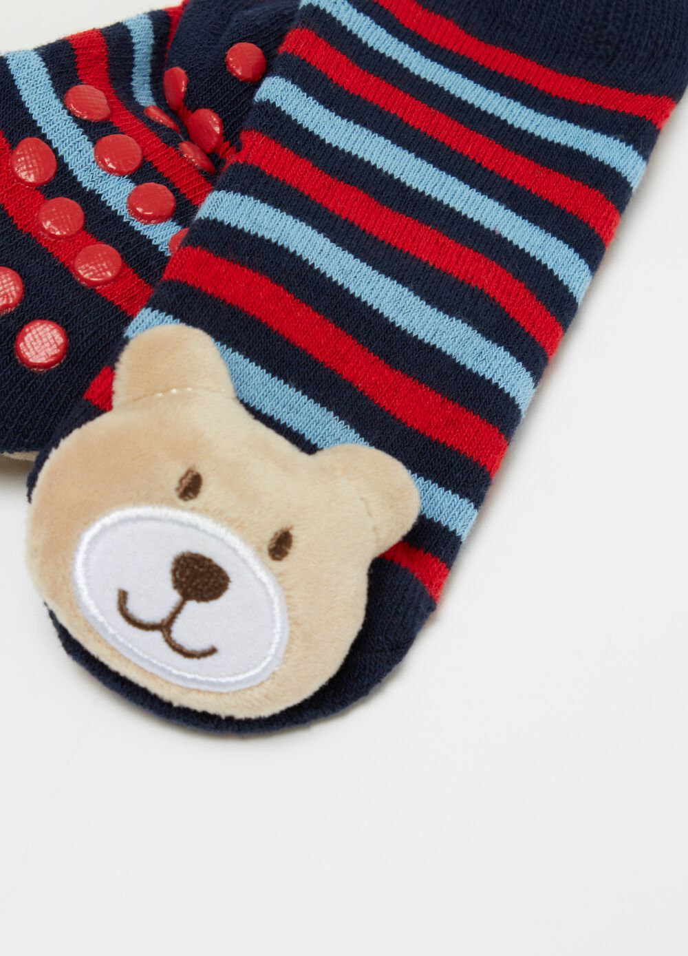 Slipper socks with bear and stripes