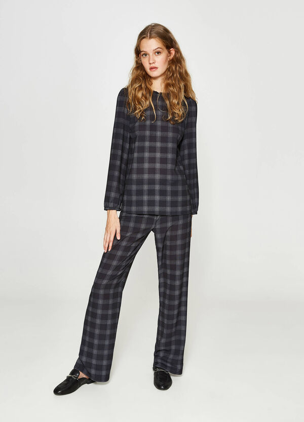 Check pattern stretch trousers
