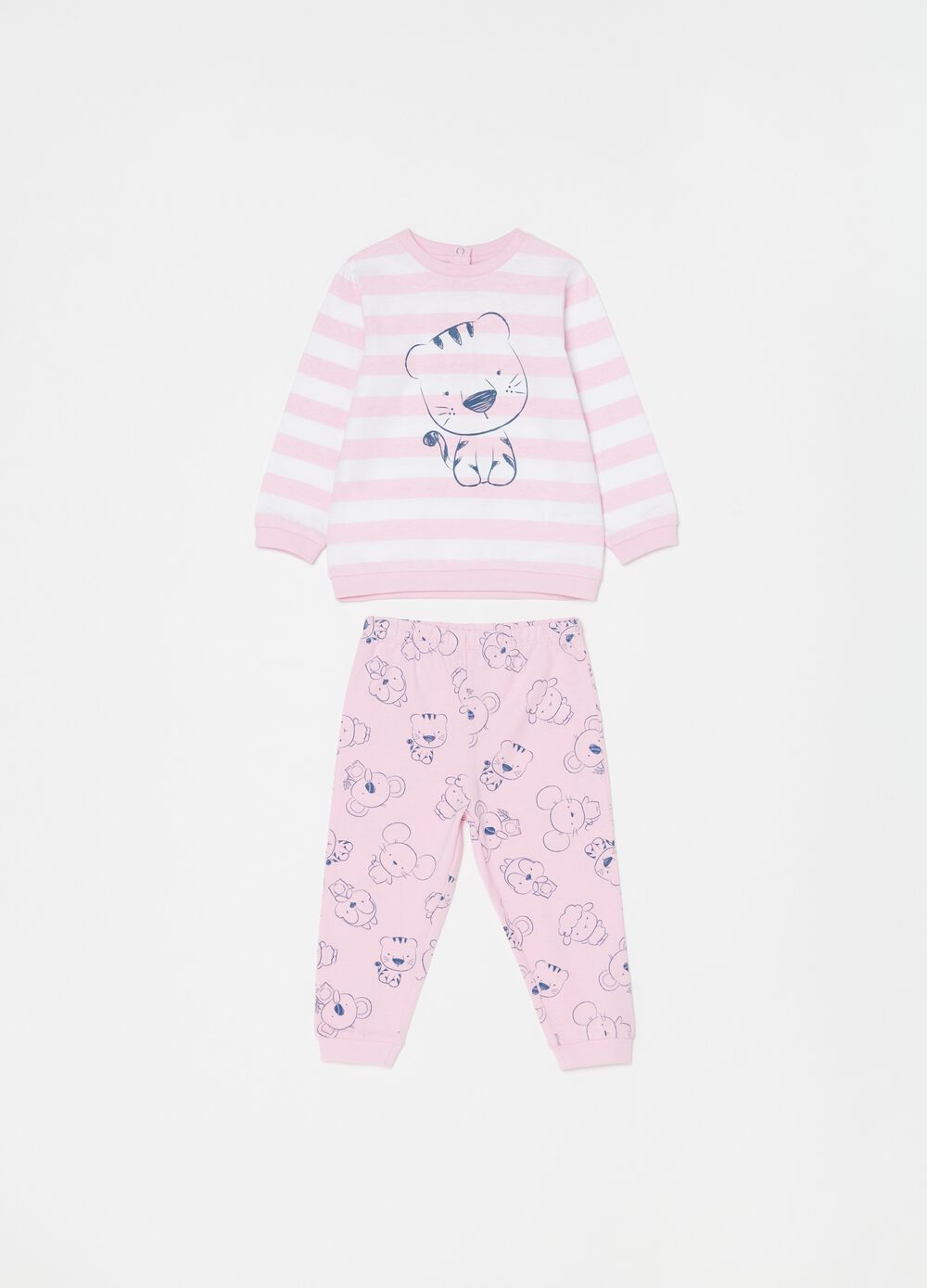 Organic cotton pyjamas with stripes