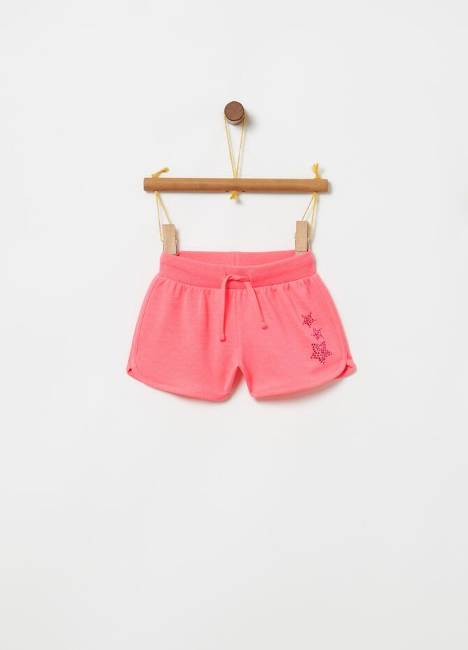 100% cotton shorts with drawstring and diamantés