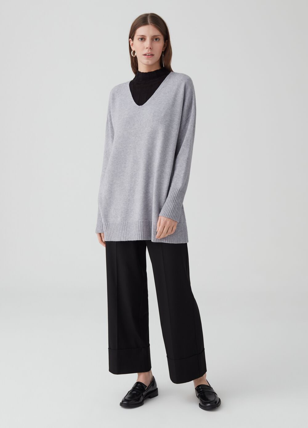 Wide-leg trousers with high waist