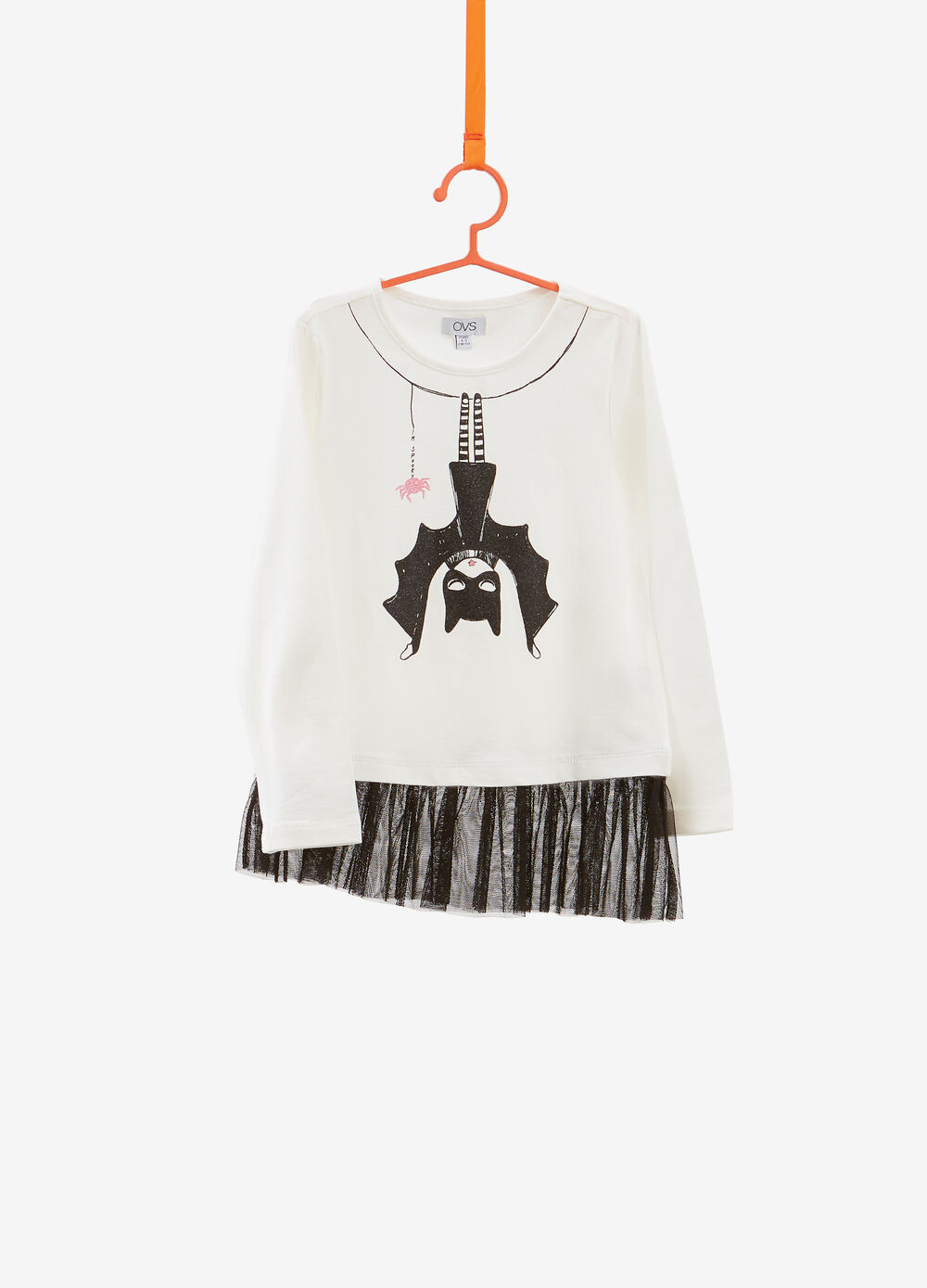 Printed stretch cotton T-shirt with flounce