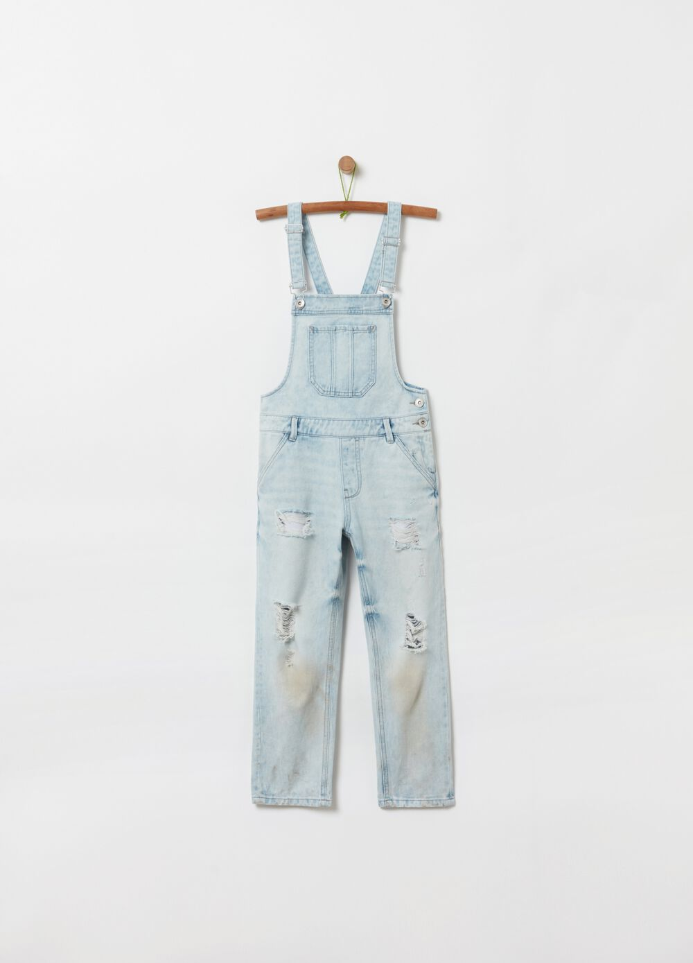 Denim dungarees with rips