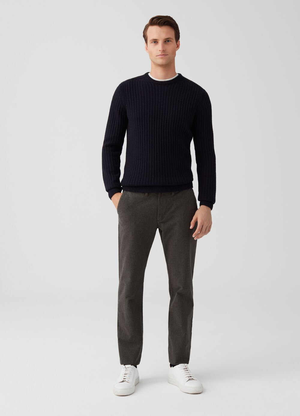 Mélange chino trousers with pockets