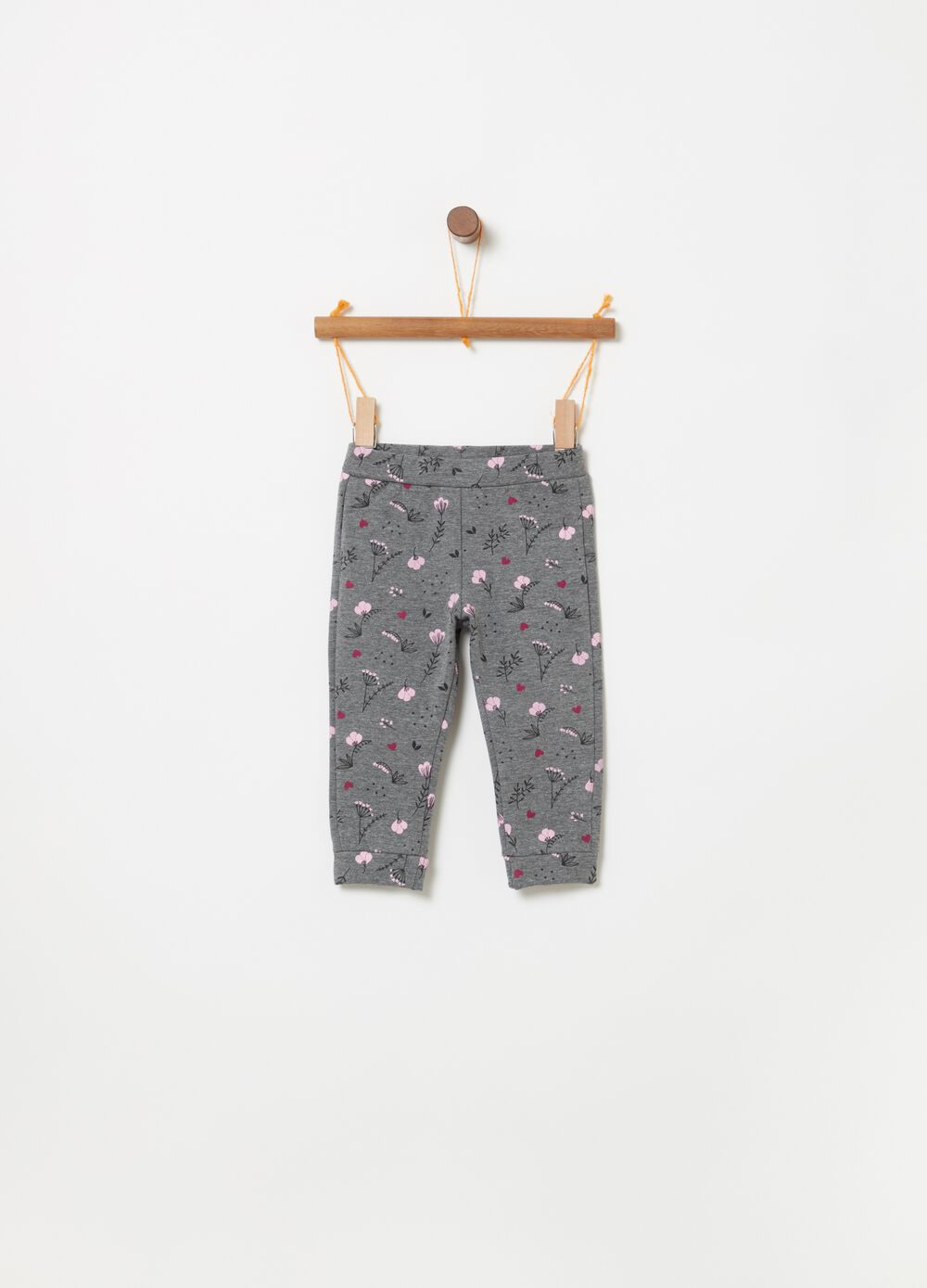 Fleece trousers with foliage pattern