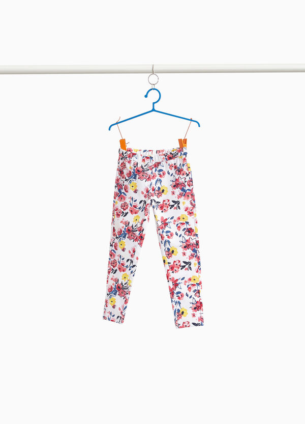 Stretch trousers with floral pattern