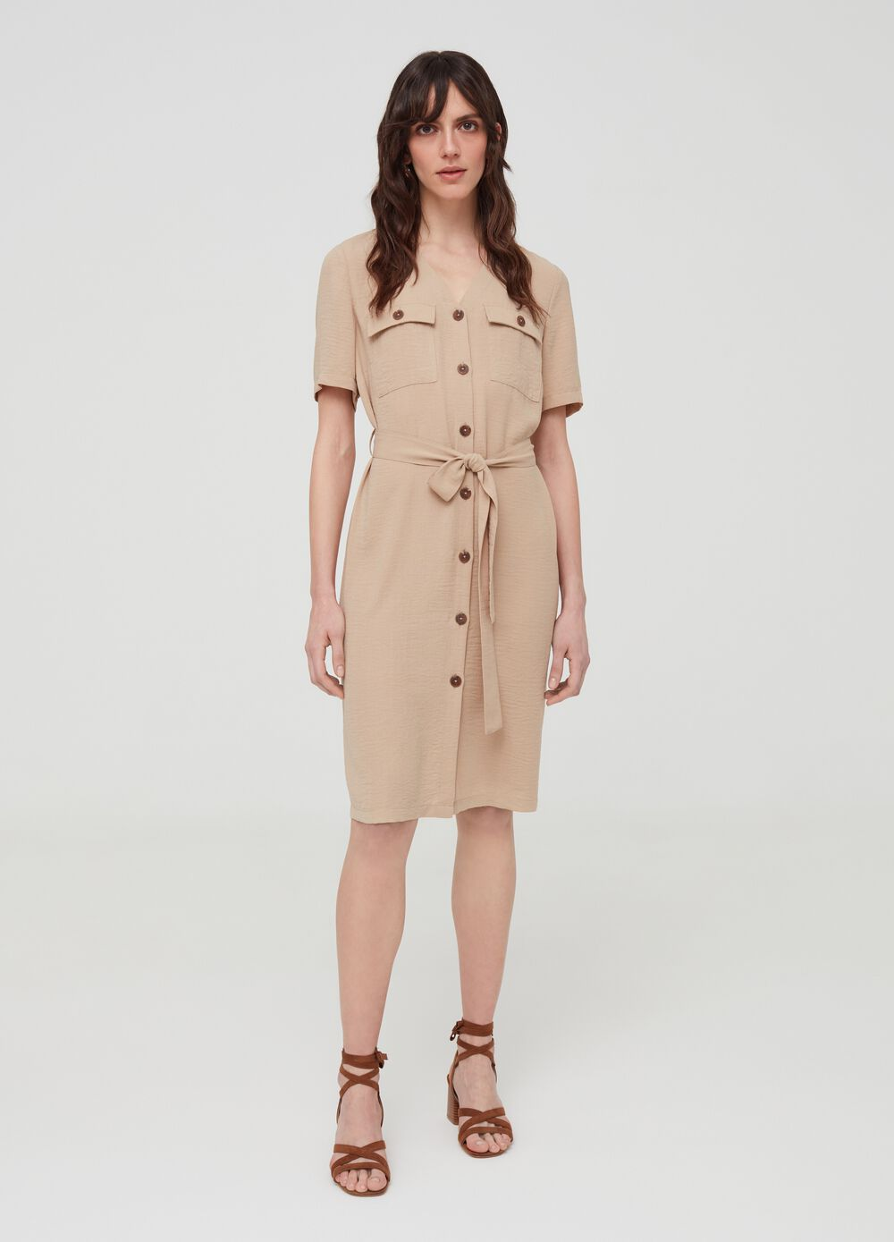 Shirt dress with belt and pockets