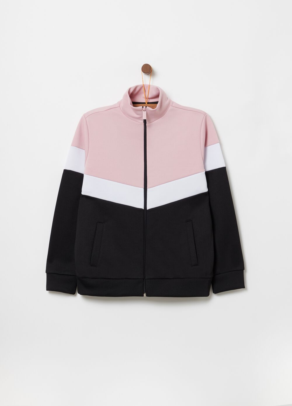 Colour block sweatshirt with high neck and pockets