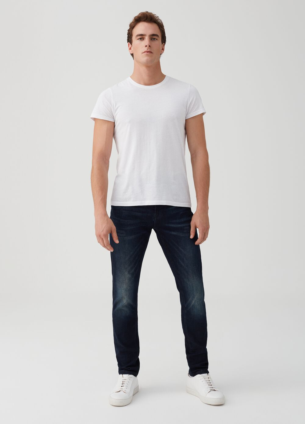 Five-pocket loose-fit stretch jeans