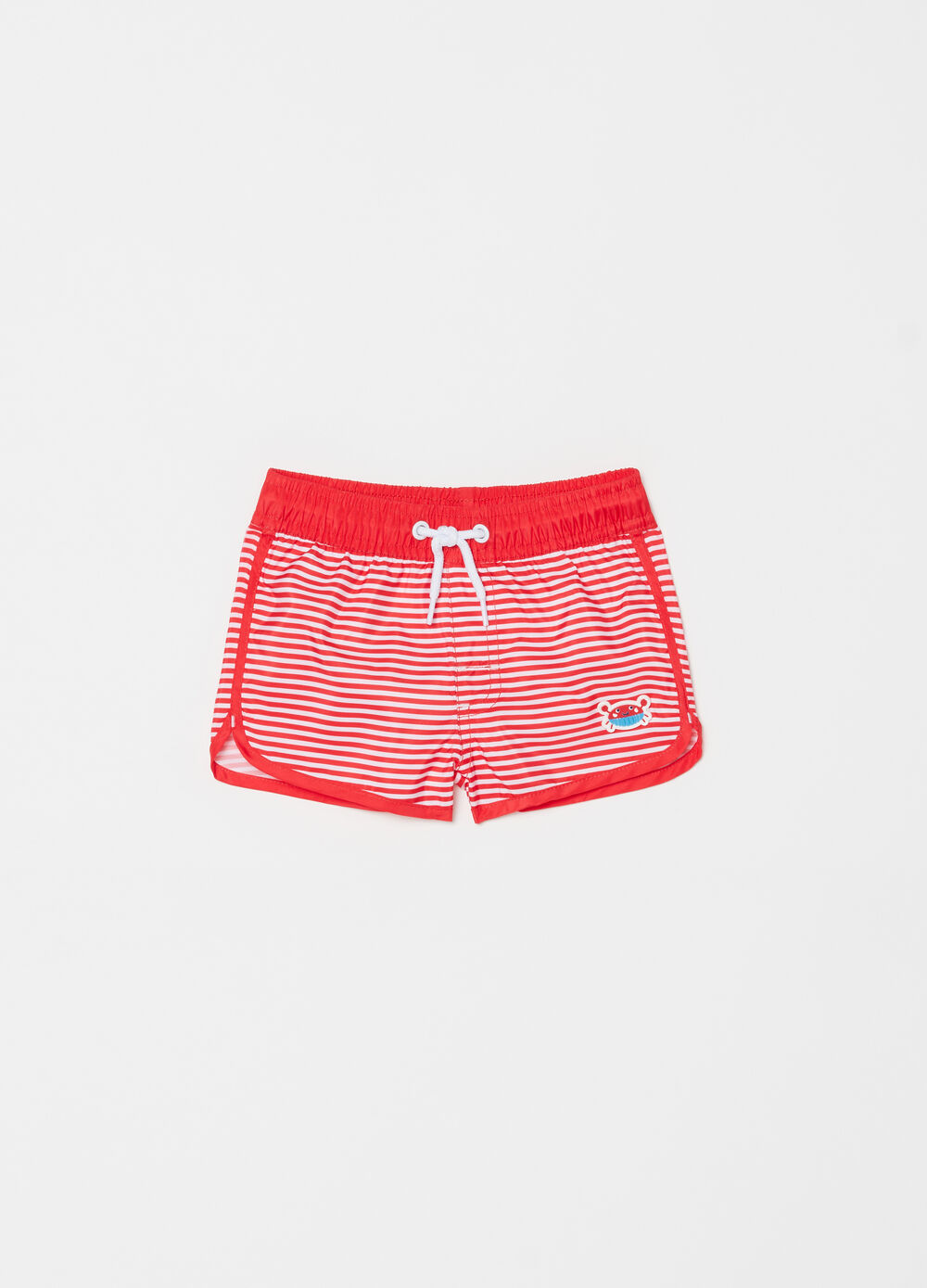Beach boxer shorts with striped patch and drawstring