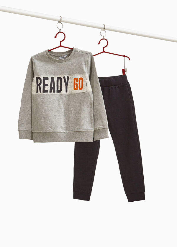 Two-tone tracksuit in 100% cotton with print
