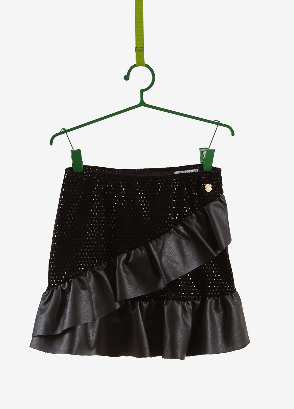 Stretch chenille skirt with leather-look flounce