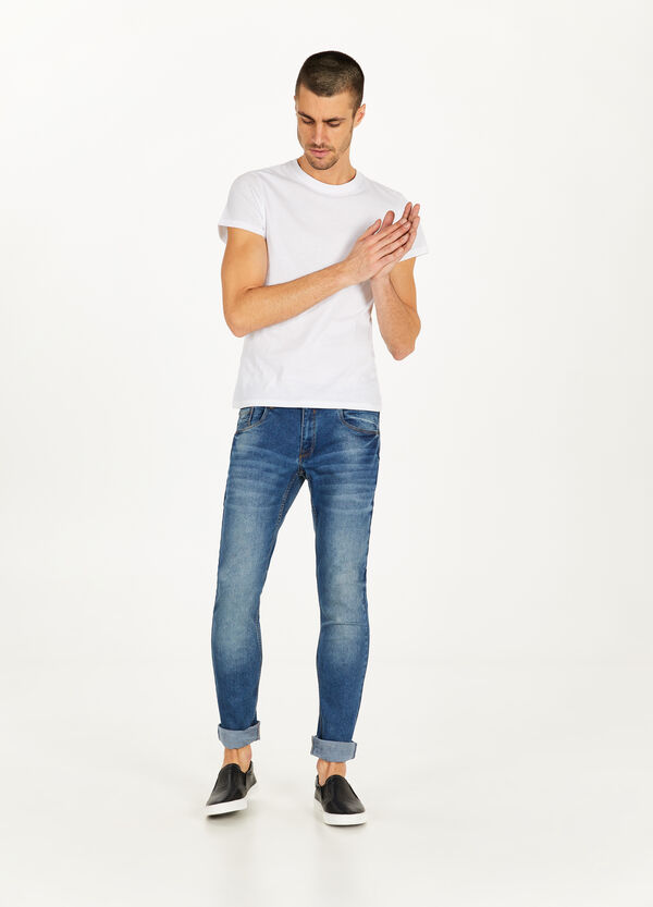 Stretch-Jeans Skinny Fit Used-Effekt Whiskering