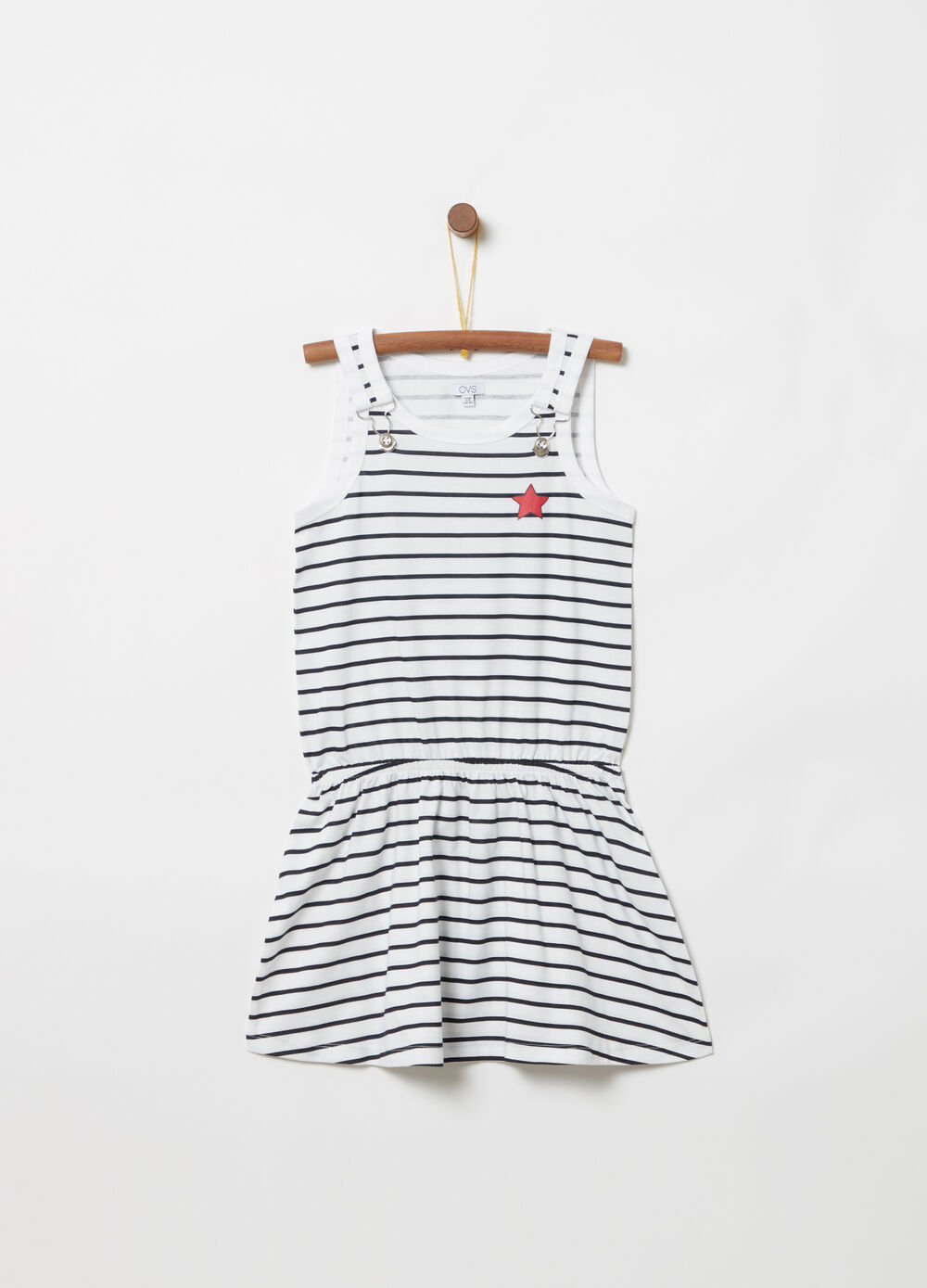 ***Striped pinafore with striped faux suspenders