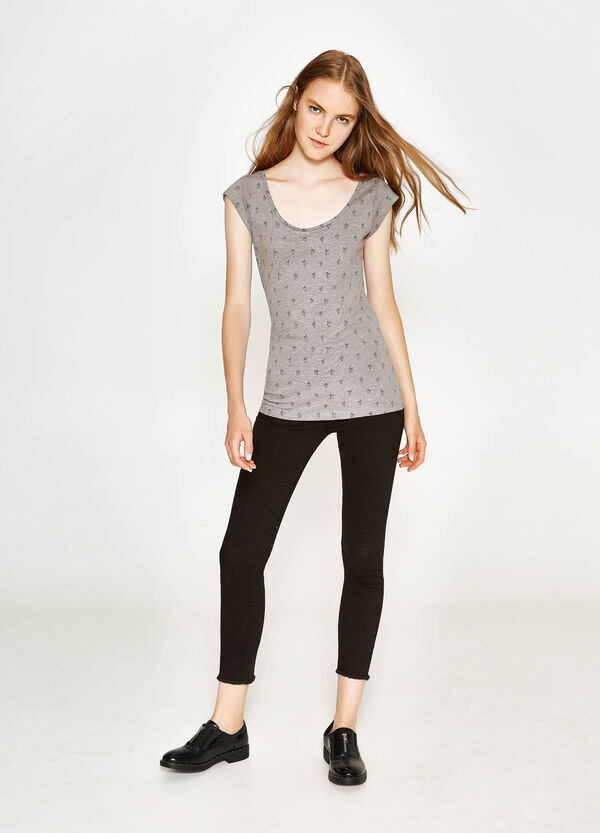 T-shirt in cotone con stampa all-over