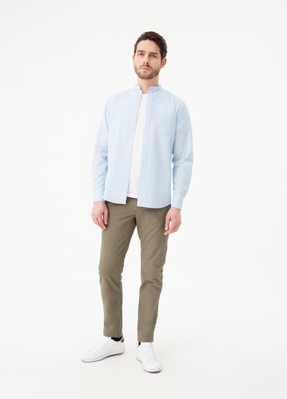Slim-fit shirt in iridescent cotton