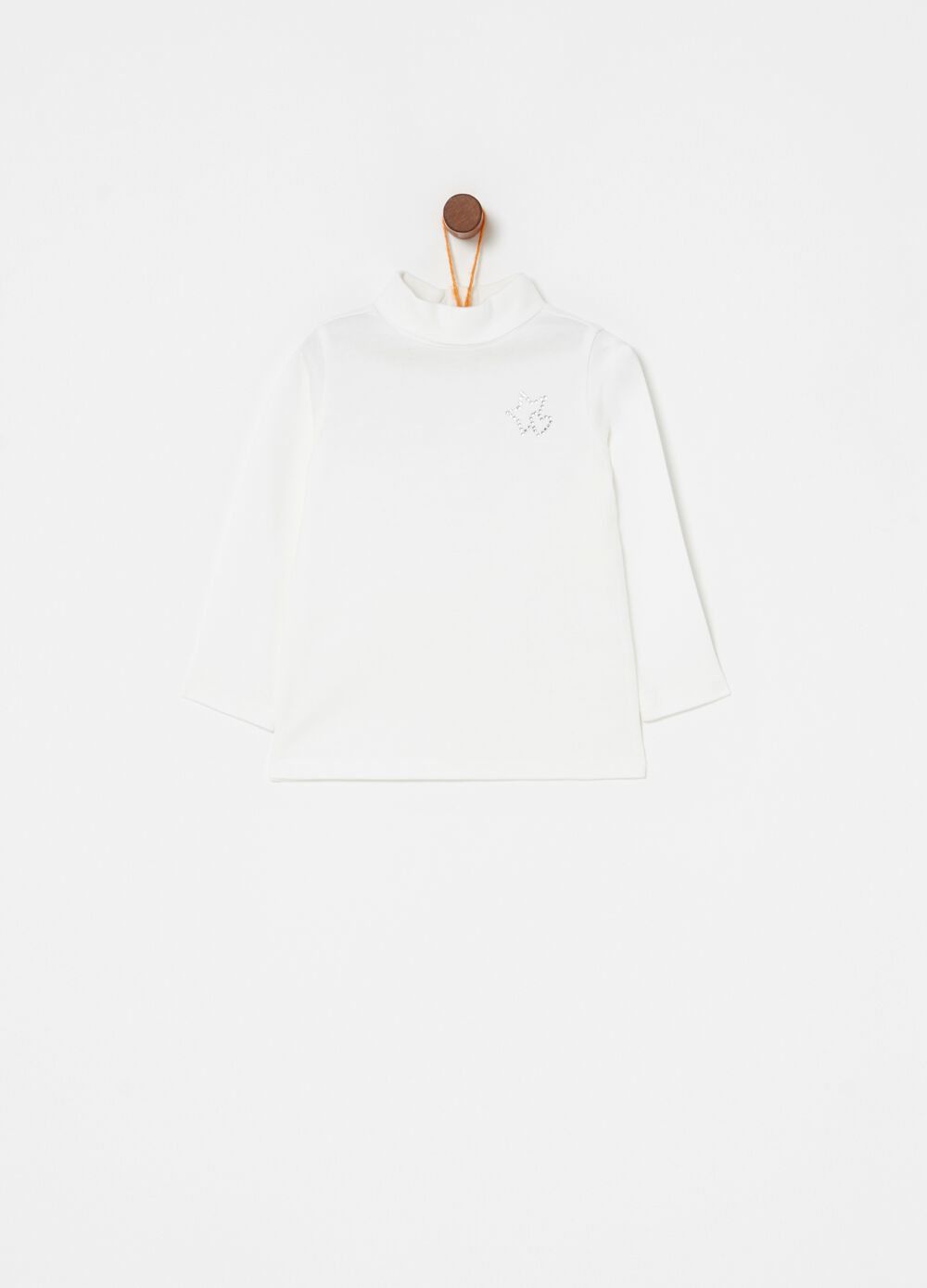 100% cotton T-shirt with long sleeves and diamantés
