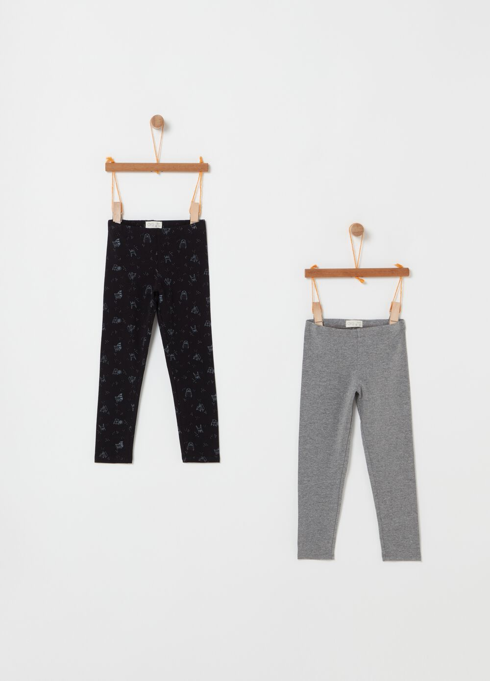 Two-pack patterned leggings in stretch cotton
