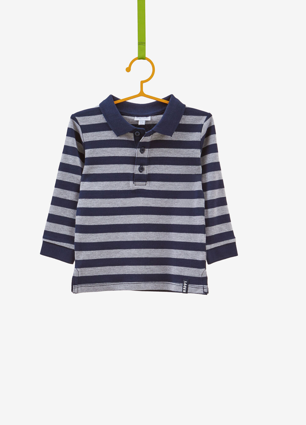 Striped cotton and viscose polo shirt