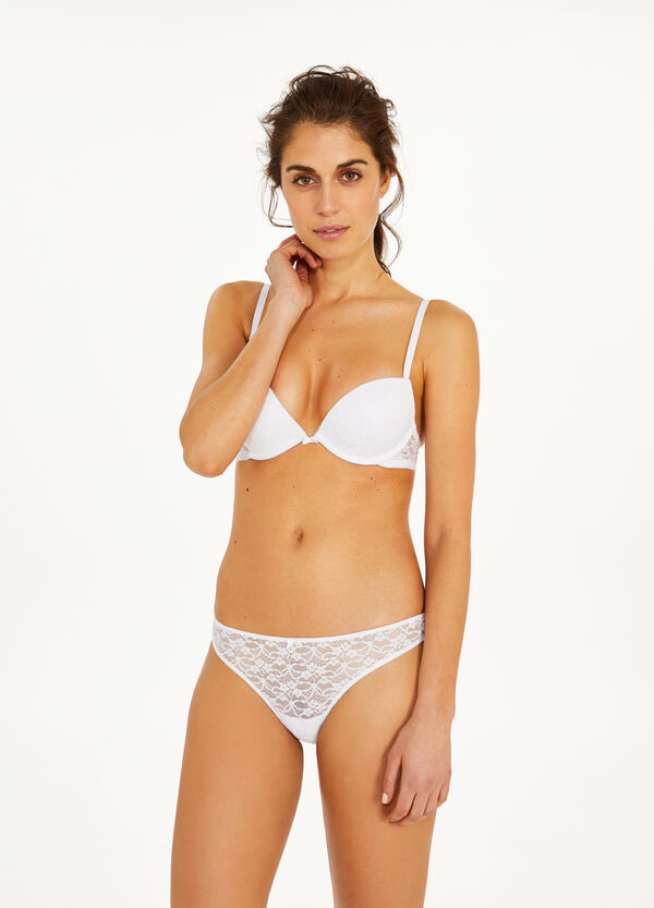 Stretch lace thong with bow