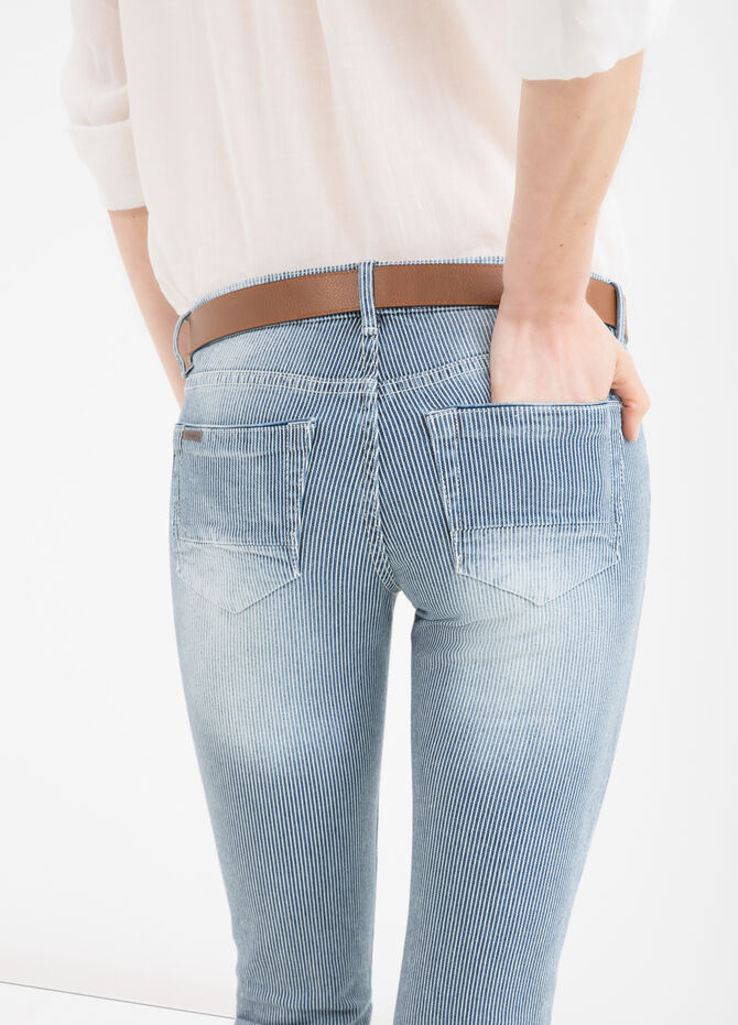 Stretch jeans with striped pattern