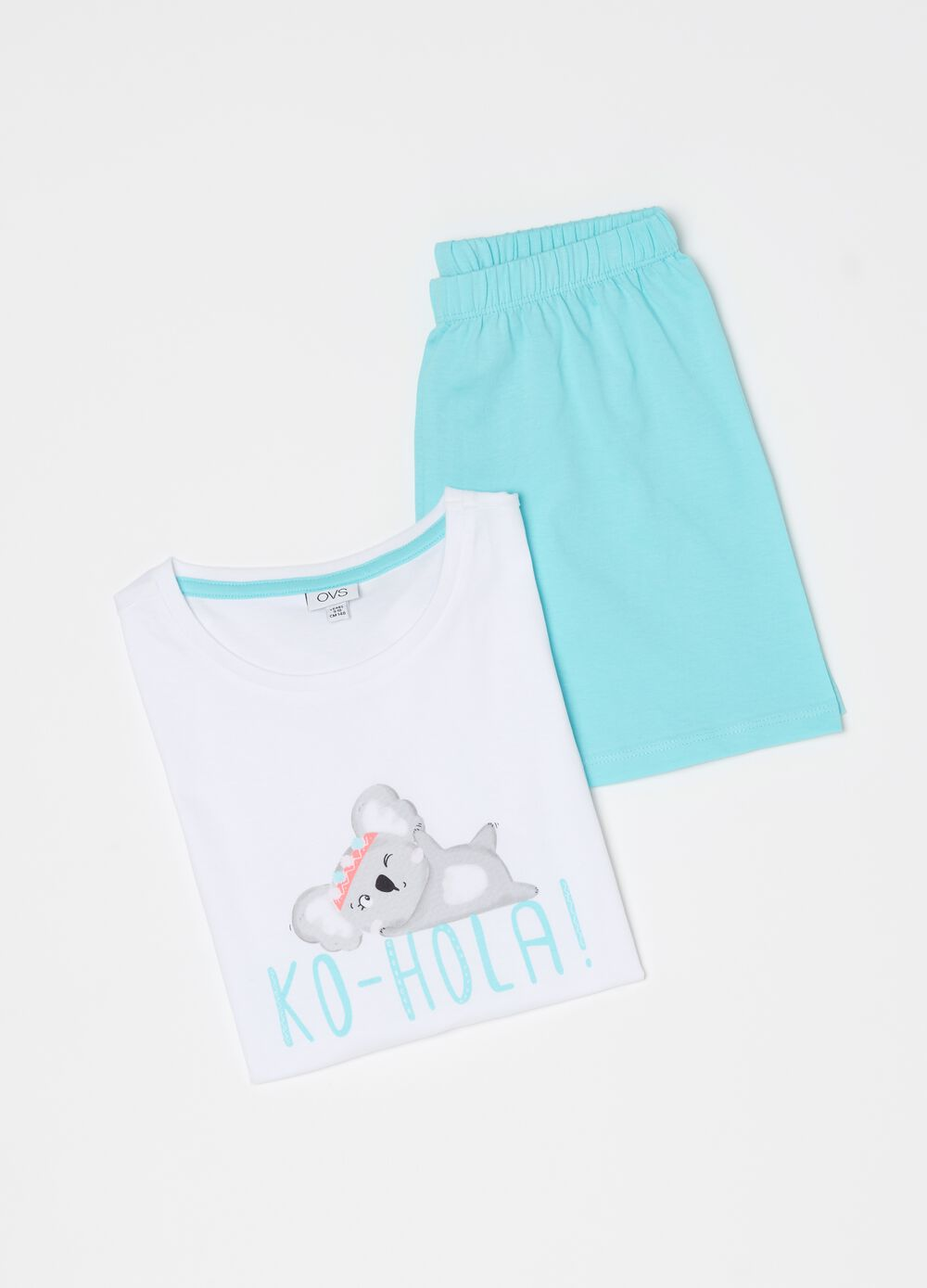 Short 100% organic cotton pyjamas with koala