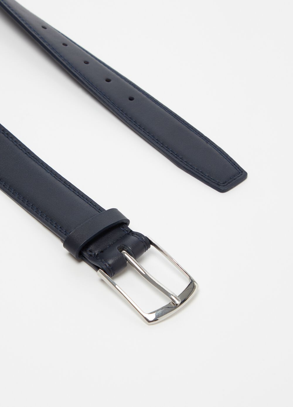 Smooth leather-look belt with metal buckle