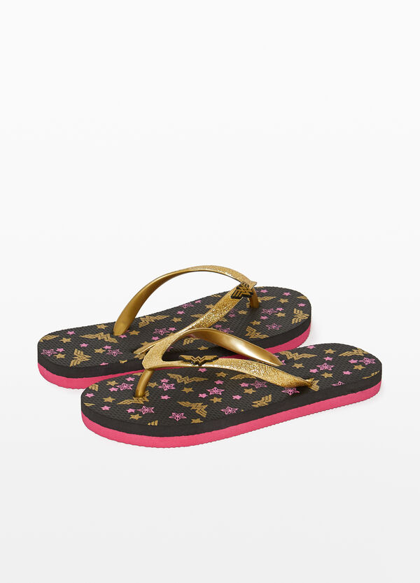 Flip flops with Wonder Woman pattern