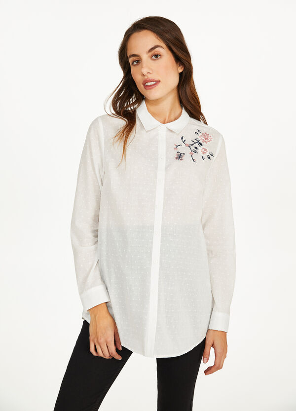 MUM shirt with floral embroidery