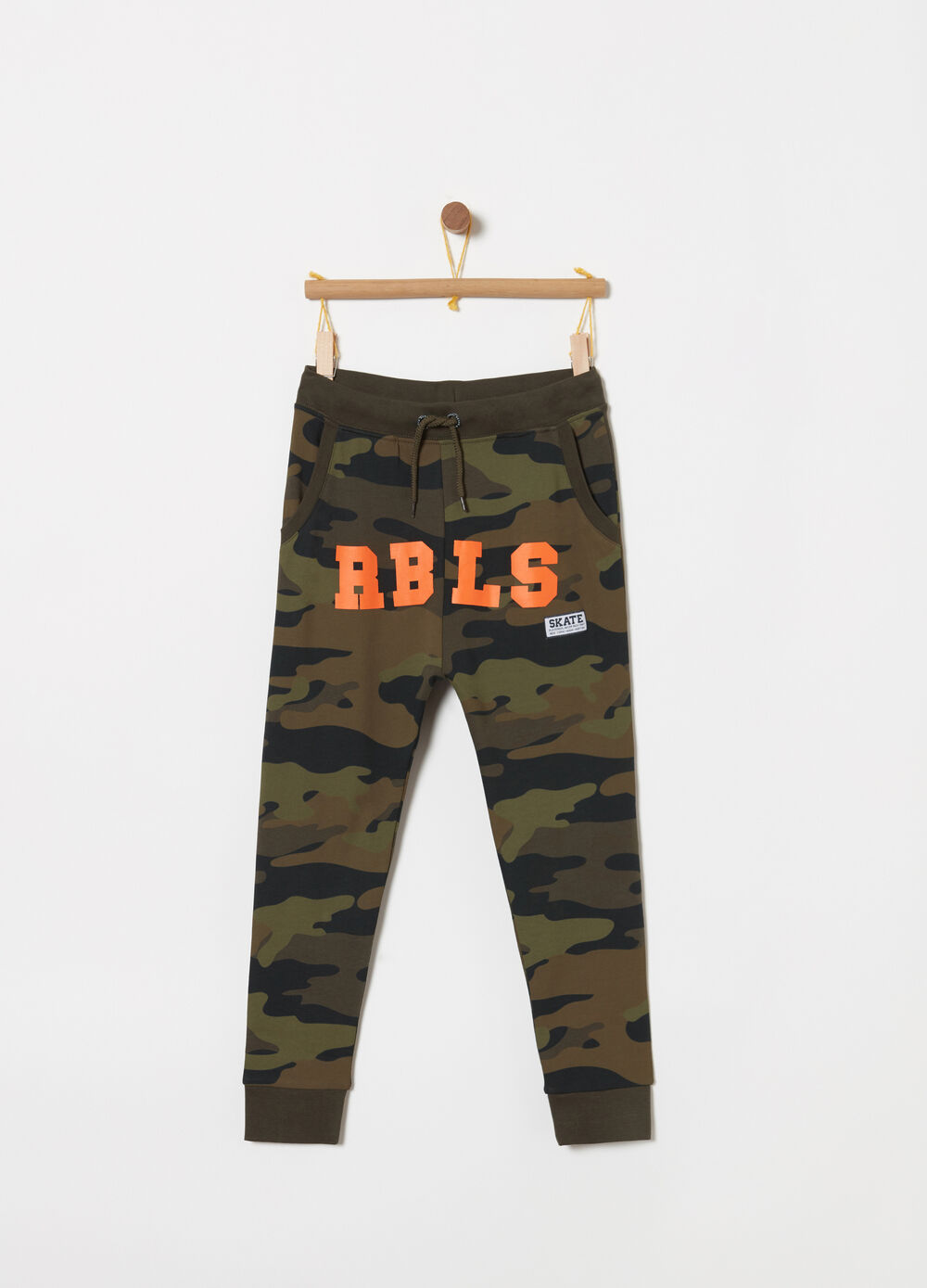 French Terry trousers with camouflage print