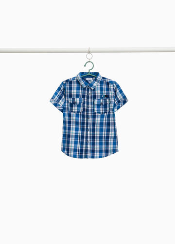 100% cotton tartan shirt with embroidery