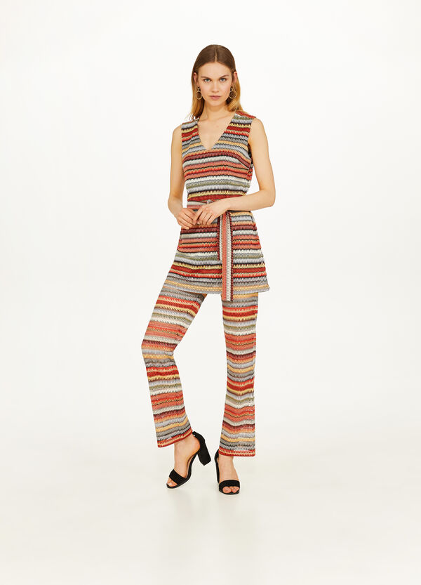Top with lurex and striped jacquard design