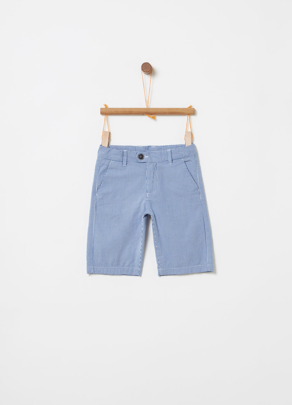 Yarn-dyed shorts with striped pockets
