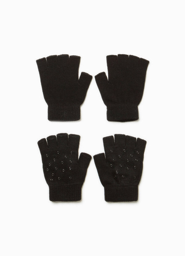 Two-pair pack fingerless gloves with studs | OVS