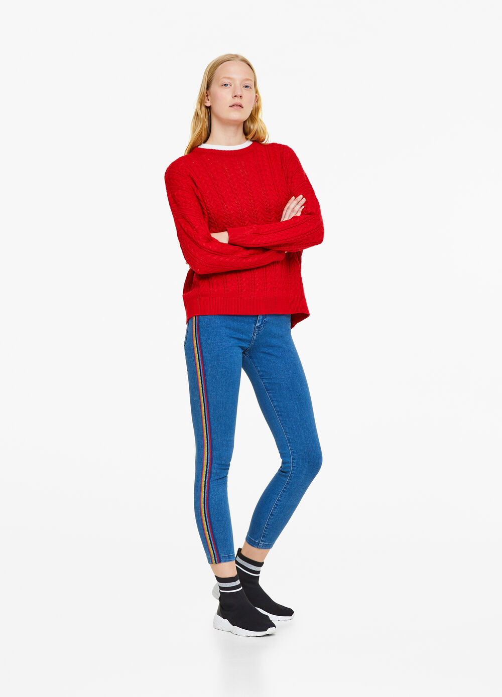 Skinny-fit jeans with striped bands