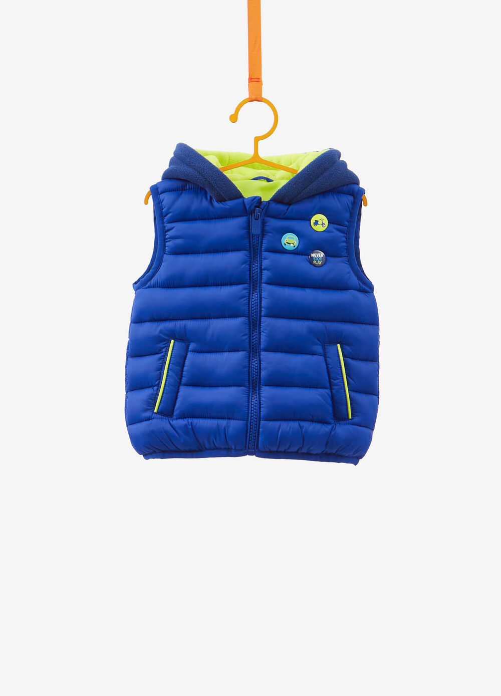 Padded gilet with hood and patch