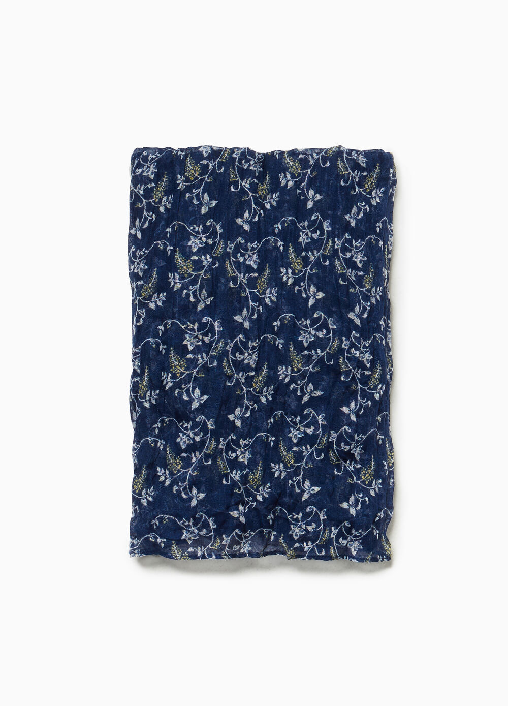 Creased effect scarf with floral pattern