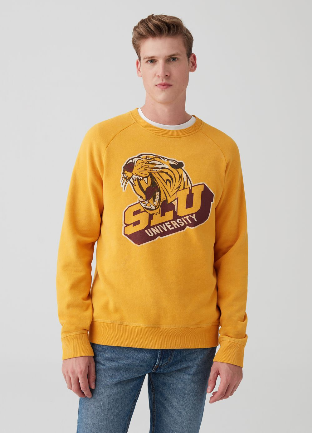 Sweatshirt with raglan sleeves and print