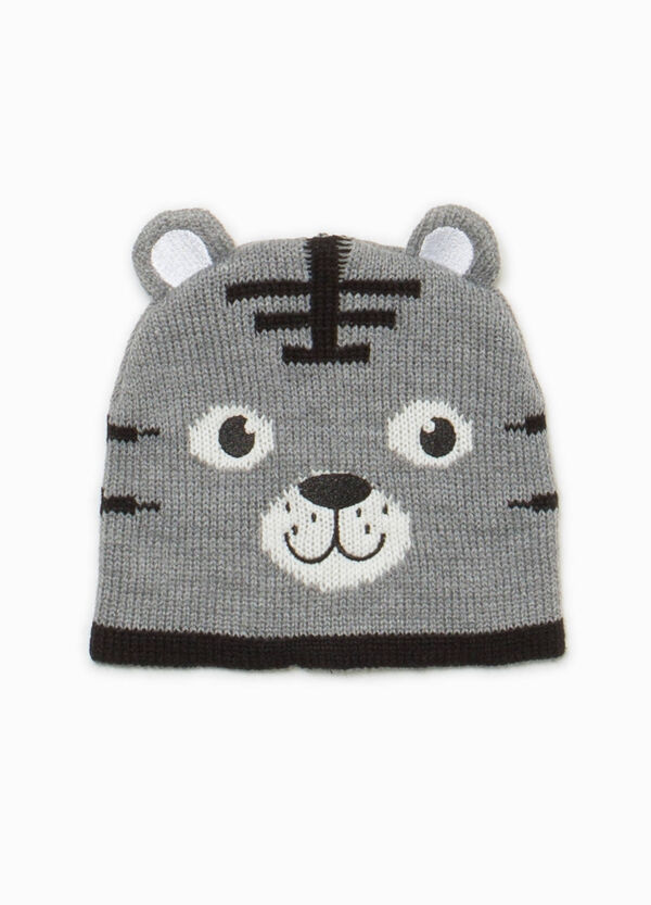 Beanie cap with tiger embroidery