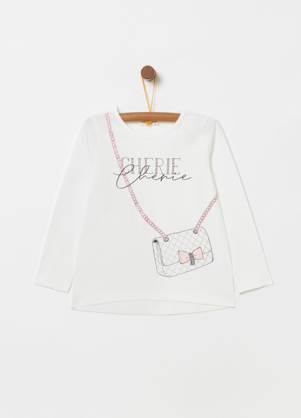 Long-sleeved T-shirt with bag print