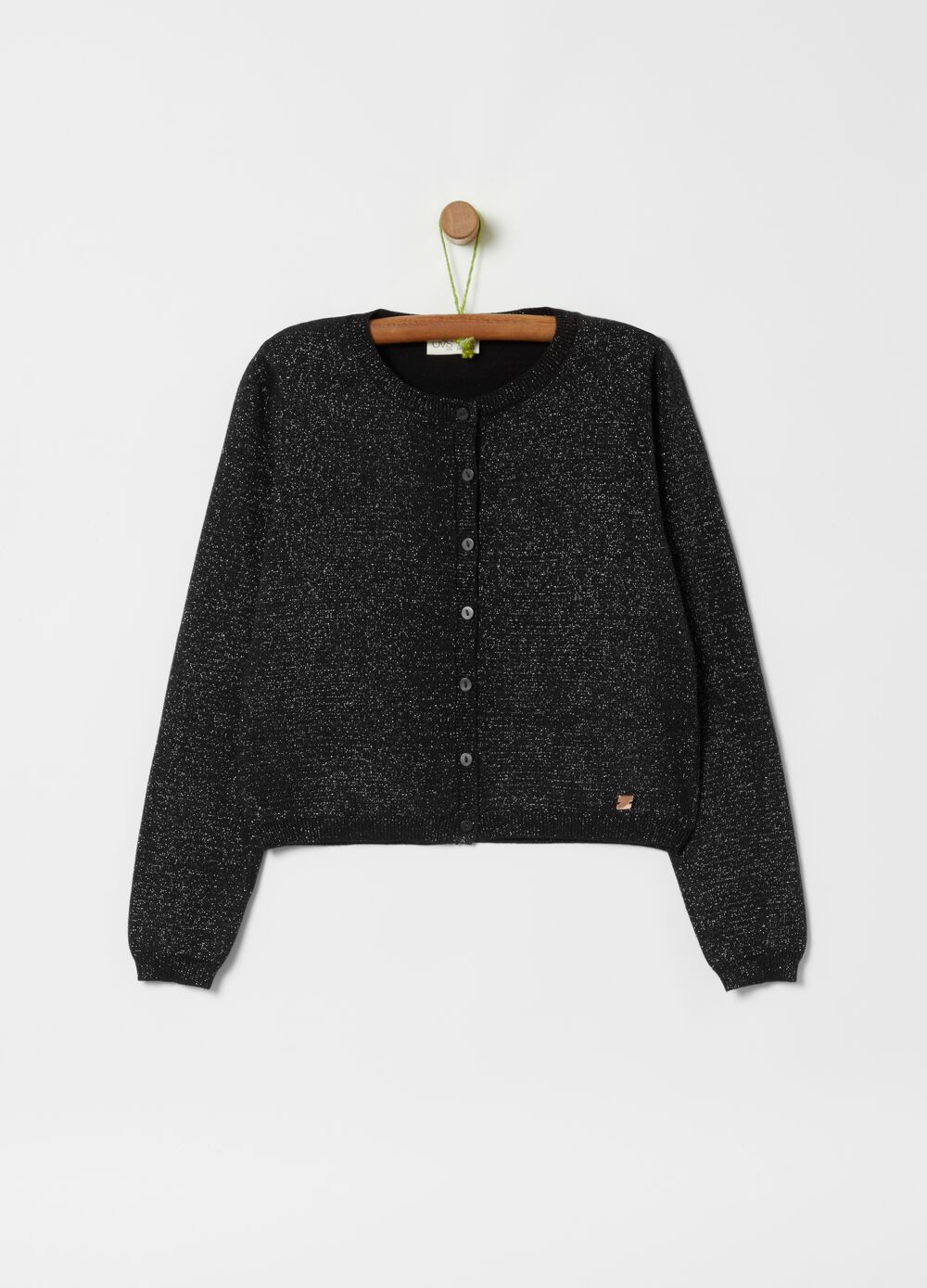 Cardigan with knitted lurex