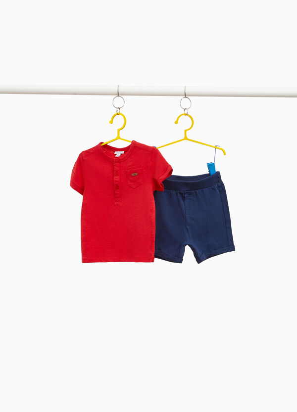 T-shirt and Bermuda shorts set in 100% cotton