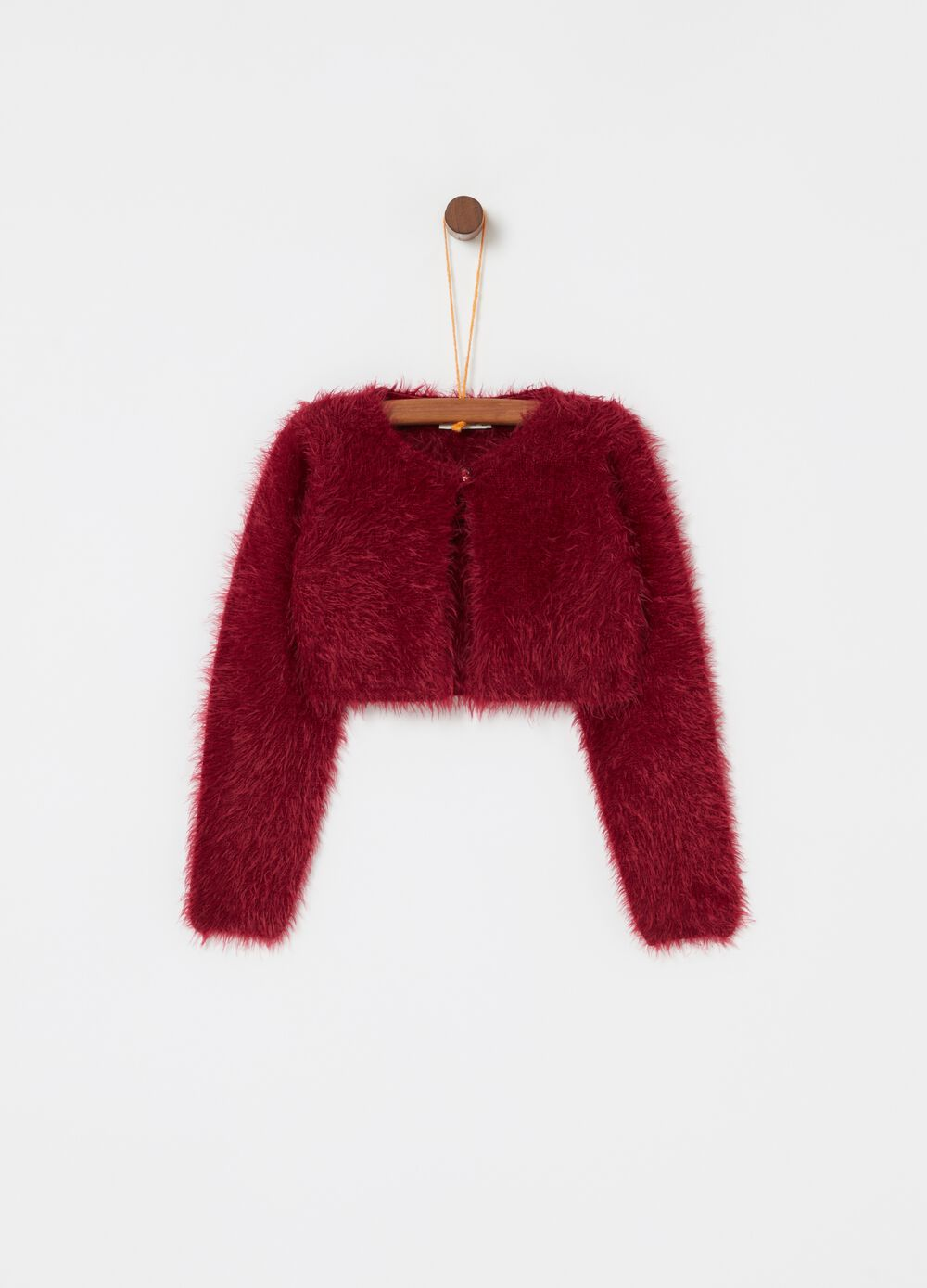Fur-effect cardigan with button