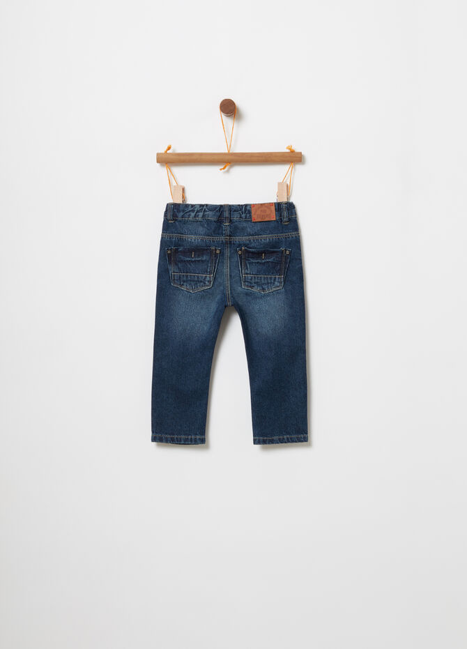 Washed-effect jeans with camouflage insert