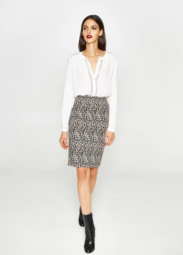 All-over animal print, pencil skirt