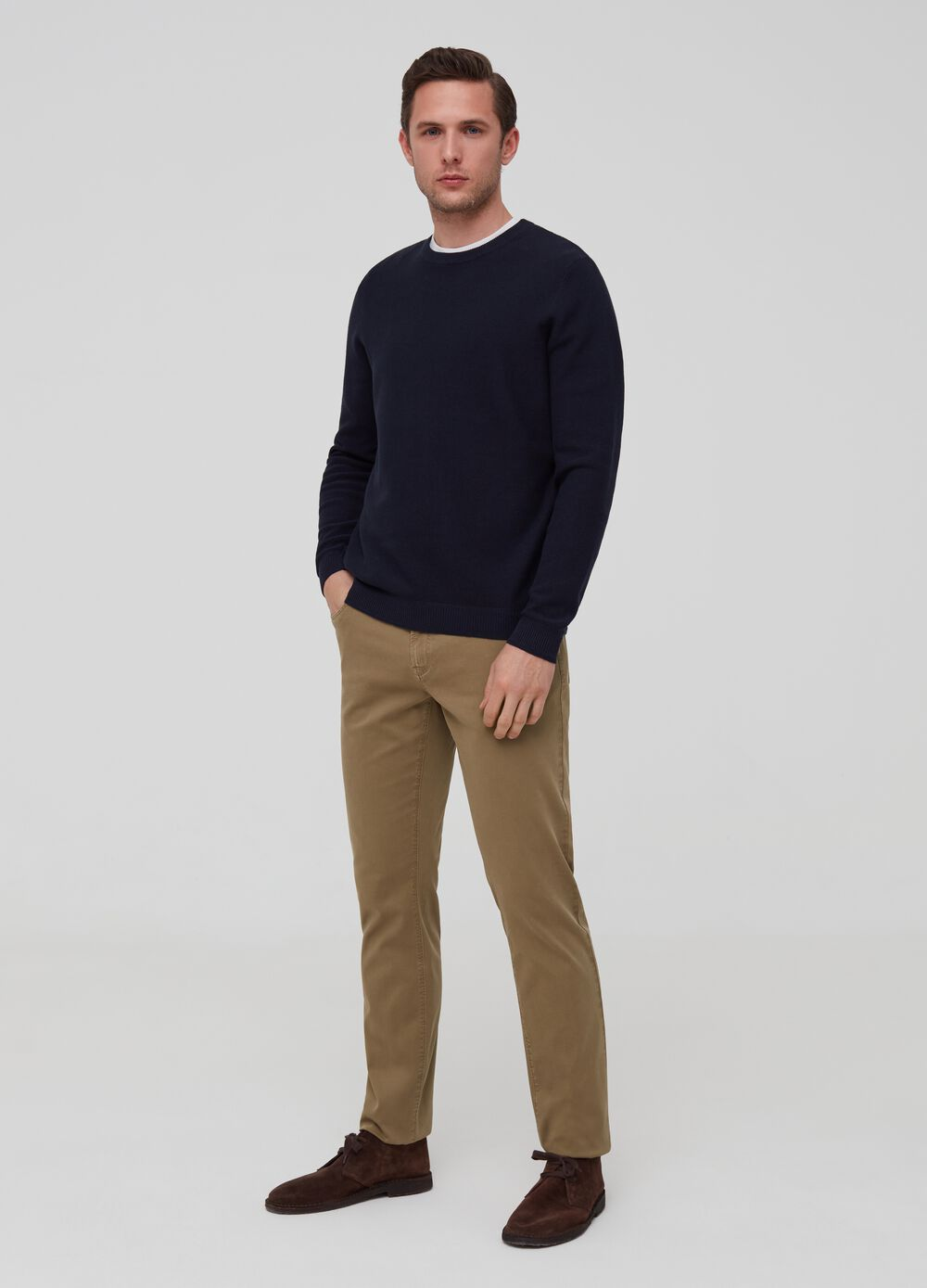 Five-pocket solid colour trousers