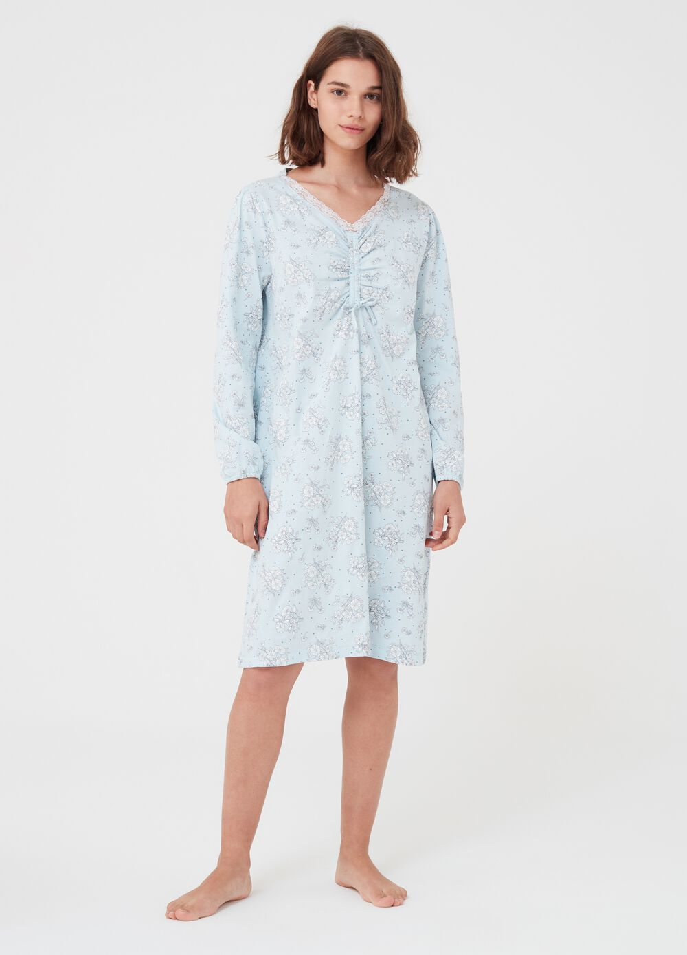 Floral and polka dot cotton nightshirt